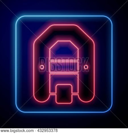 Glowing Neon Rafting Boat Icon Isolated On Black Background. Inflatable Boat With Paddles. Water Spo