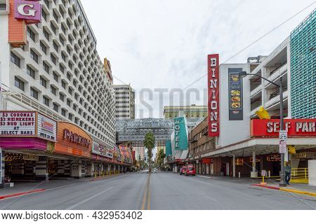 Las Vegas, Usa - March 10, 2019: Old Parking And Casino At Crossing Odgen 1.st Street In Old Part Of