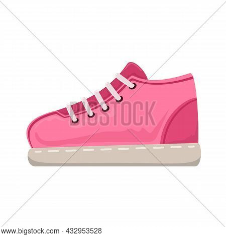 Pink Sneakers Icon Isolated On White Background. Running And Fitness Shoes. Modern And Fashionable S