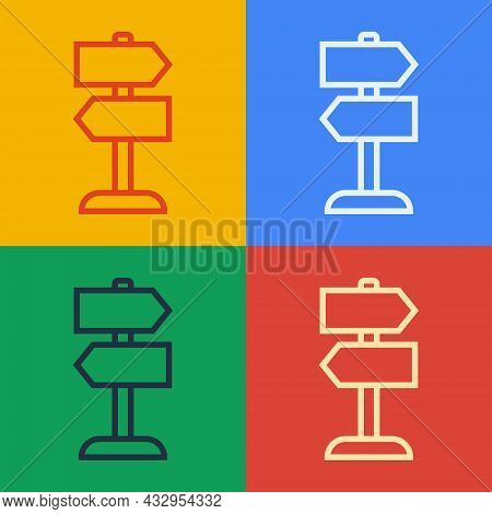 Pop Art Line Road Traffic Sign. Signpost Icon Isolated On Color Background. Pointer Symbol. Isolated