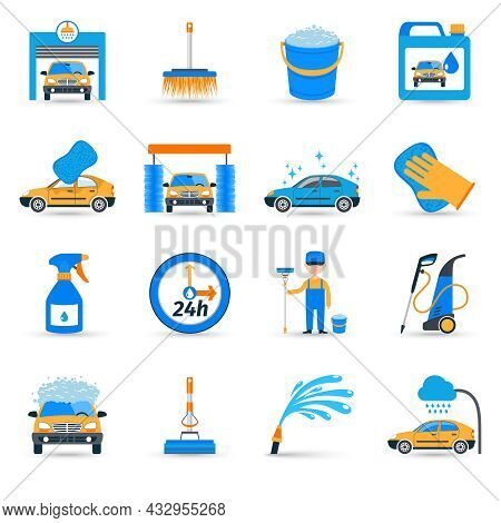Automatic Carwash Facilities Innovative Self Service Foaming Brush Unit Equipment Flat Icons Set Abs