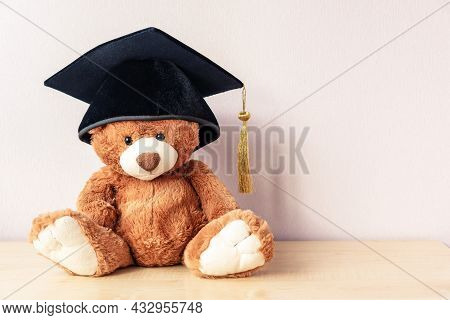 Adorable Teddy Bear With Black Academic Cap Sits On Wooden Table Near Light Pink Wall As Space For T