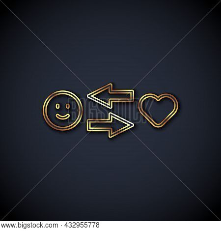 Gold Line Romantic Relationship Icon Isolated On Black Background. Romantic Relationship Or Pleasant