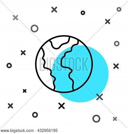 Black Line Global Economic Crisis Icon Isolated On White Background. World Finance Crisis. Random Dy