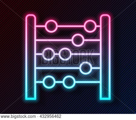 Glowing Neon Line Abacus Icon Isolated On Black Background. Traditional Counting Frame. Education Si