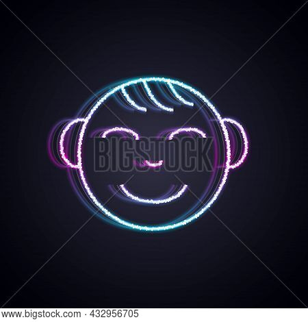 Glowing Neon Line Happy Little Boy Head Icon Isolated On Black Background. Face Of Baby Boy. Vector