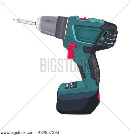 Drill Isolated On White Background. Drilling Machine. Electric Device For The Home Repair. Handheld