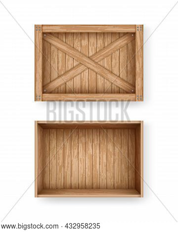 Realistic Cargo Boxes Mockup Template Illustration. Empty Wooden Box Crate Made Of Planks. Open And