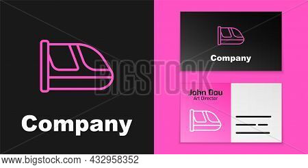 Pink Line Train And Railway Icon Isolated On Black Background. Public Transportation Symbol. Subway