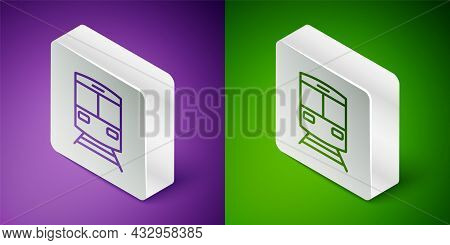 Isometric Line Train And Railway Icon Isolated On Purple And Green Background. Public Transportation