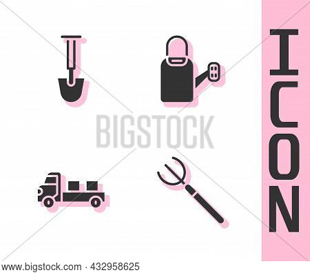 Set Garden Pitchfork, Shovel, Pickup Truck And Watering Can Icon. Vector