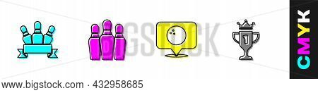 Set Bowling Pin, , Location With Bowling Ball And Award Cup Icon. Vector