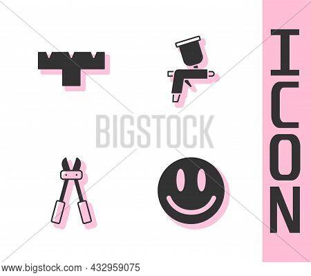 Set Smile Face, Marker Pen Attachment, Bolt Cutter And Paint Spray Gun Icon. Vector