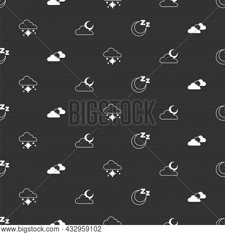 Set Time To Sleep, Sun And Cloud Weather, Cloud With Snow And Moon On Seamless Pattern. Vector