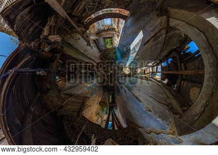 Panorama Inside Of An Abandoned Half-destroyed Dormitory At Summer Daylight In Hyperbolic Projection