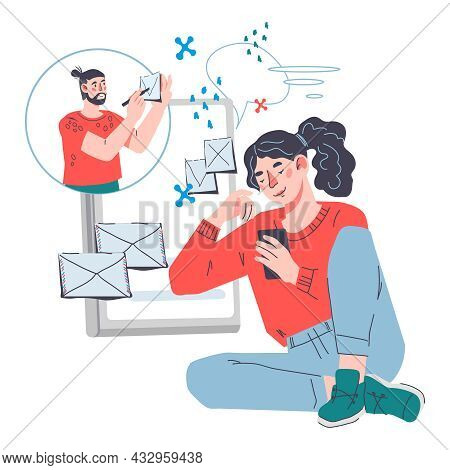 Sending Mail And Chatting Online. Business Working Process, Email Message, Vector.