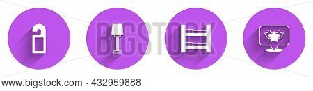 Set Please Do Not Disturb, Table Lamp, Hotel Room Bed And Stars Rating Icon With Long Shadow. Vector