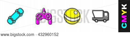 Set Skateboard, Gamepad, Beach Ball And Toy Truck Icon. Vector