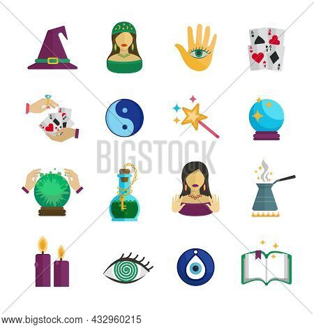 Fortune Teller Magician And Paranormal Symbols Icon Flat Set Isolated Vector Illustration