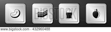 Set Steak Meat, Piece Of Cake, Chicken Egg On Stand And Plum Fruit Icon. Silver Square Button. Vecto