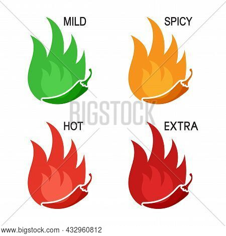 Spicy Levels Chili Pepper Vector Icon. Mild, Spicy, Hot, Extra Sauce Badge Set. Food Illustration