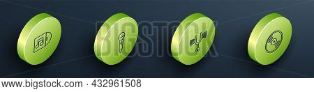 Set Isometric Line Vinyl Disk, Microphone, Musical Tuning Fork And Icon. Vector