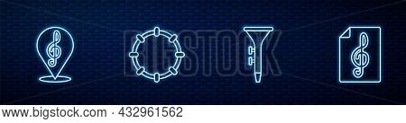 Set Line Drum And Drum Sticks, Treble Clef, Tambourine And . Glowing Neon Icon On Brick Wall. Vector