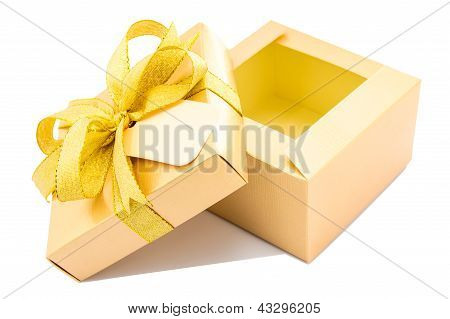 Golden Gift Box Open Up On White Background.