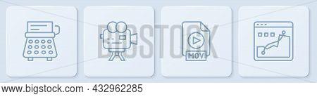 Set Line Retro Typewriter, Mov File Document, Cinema Camera And Histogram Graph Photography. White S