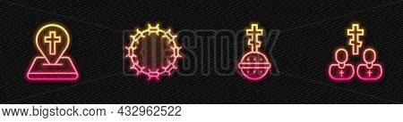 Set Line Christian Cross, Location Church Building, Crown Of Thorns And Priest. Glowing Neon Icon. V