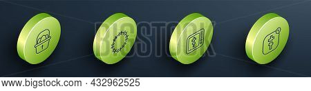 Set Isometric Line Basket With Easter Eggs, Crown Of Thorns, Online Church Pastor Preaching And Icon
