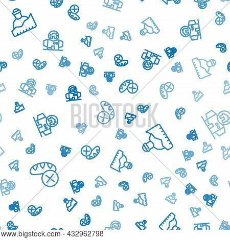 Set Line Donation Food, Growth Of Homeless And Homeless Cardboard House On Seamless Pattern. Vector