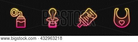 Set Line Baby Bottle, Breast Pump, Dummy Pacifier And Bib. Glowing Neon Icon. Vector