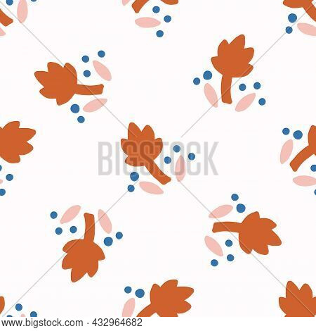 Abstract Playful Matisse Style Cut Out Flower Shape Pattern. Seamless Modern Floral Collage Style De
