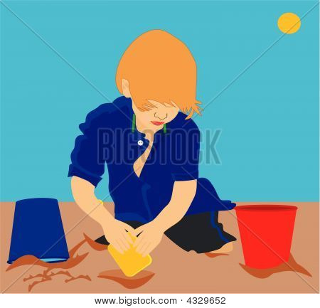Child Playing In Sand Illustration