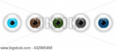 Realistic Different Eyeball Set. Blue, Brown, Green, Black And Dark Blue Eye Icon. Vector Illustrati