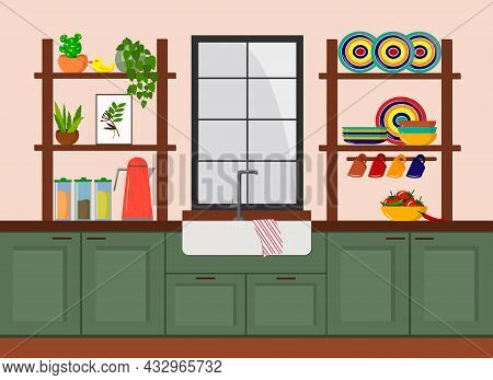 Kitchen Interior With Window And Various Kitchen Items. Vector Illustration. For Use In Flyers, Menu