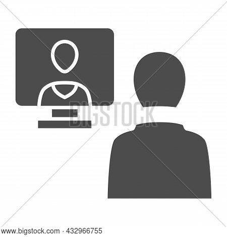 Distance Learning, Online Communication Solid Icon, Connection Concept, Online Meeting Vector Sign O