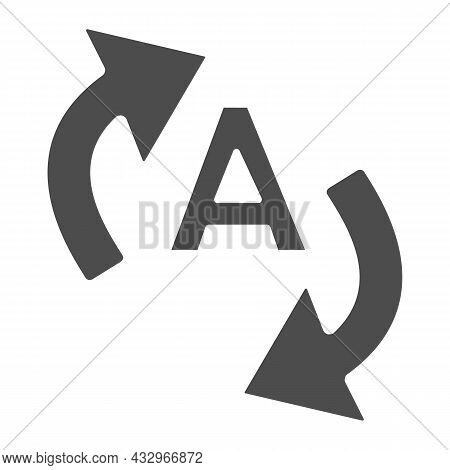 Letter A With Two Arrows, Translation Solid Icon, Linguistics Concept, Interpretation Vector Sign On