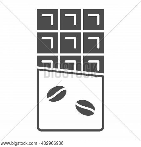 Chocolate Bar With Coffe Beans On Wrapper Solid Icon, Sweets Concept, Chocolate Bar Vector Sign On W