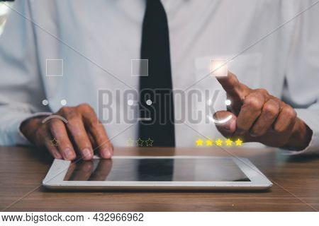 Businessman Hand Pressing Smiley Face Emoticon On Virtual Touch Screen.good Feedback Rating And Posi