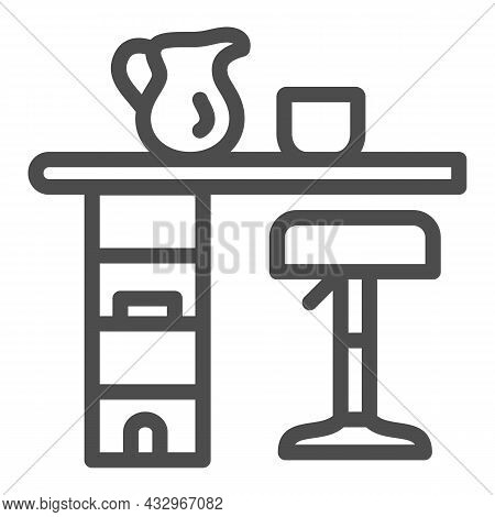 Bar Counter With Stool, Cup And Pot Line Icon, Interior Design Concept, Bar Table Vector Sign On Whi