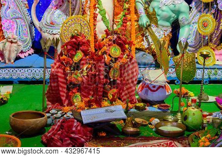 Howrah, West Bengal, India - 24th October 2020 : Goddess Durga Is Being Worshipped. Representative I