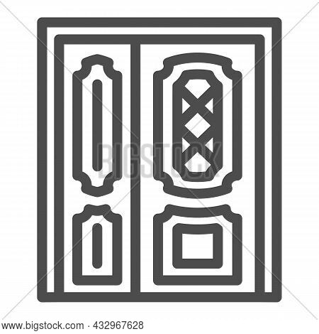 Front Door Line Icon, Interior Design Concept, Main Entrance Vector Sign On White Background, Outlin
