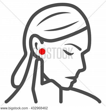 Woman Ear Hurts Line Icon, Body Pain Concept, Person Has Pain In The Ears Vector Sign On White Backg