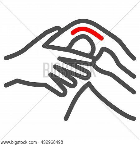 Knee Joint Hurts Line Icon, Body Pain Concept, Joint Strain Ache Vector Sign On White Background, Ou