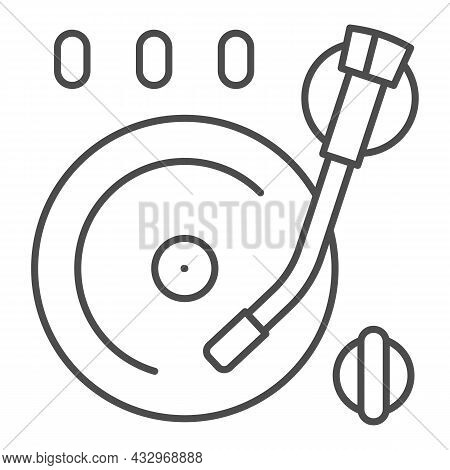 Vinyl Plate On Record Player Thin Line Icon, Sound Design Concept, Record On Turntable Vector Sign O