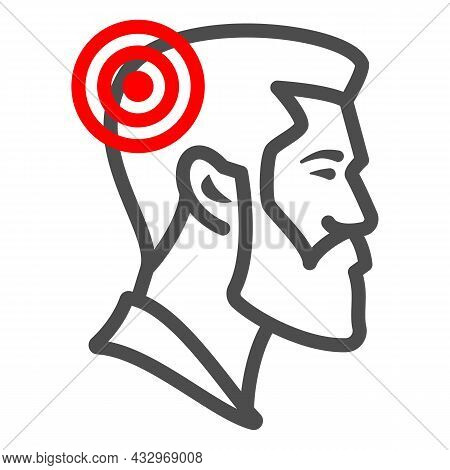 Man Has Headache Line Icon, Body Pain Concept, Person Has Migraine Vector Sign On White Background,