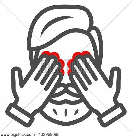 Man Eyes Hurt And Itch Line Icon, Body Pain Concept, Person Has Eye Problems Vector Sign On White Ba