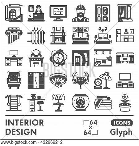 Interior Design Line Icon Set, Home Decoration Symbols Collection Or Sketches. Architecture Glyph Li